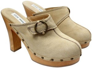 Steve Madden Faux Suede Buckle Wood Tan Mules