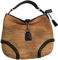 Coach Studded Leather Straw Blue Hobo Bag
