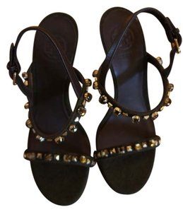 Tory Burch Leather Sole Mocha Melange Dark Green Sandals