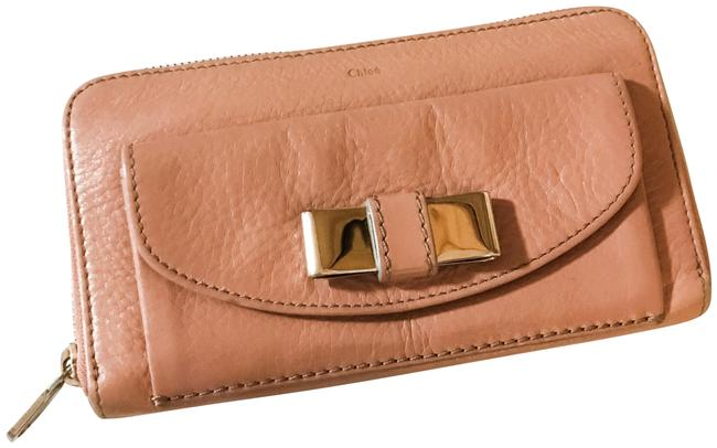 "Item - Mauve Pink Soft Goat Skin ""Lily"" Portefueille Bow Zip Wallet"