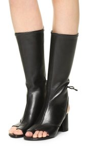 3.1 Phillip Lim Open Toe Tie Chunky Leather Black Boots