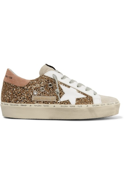 Item - Hi Star Distressed Glittered Leather and Suede Sneakers Size EU 41 (Approx. US 11) Regular (M, B)