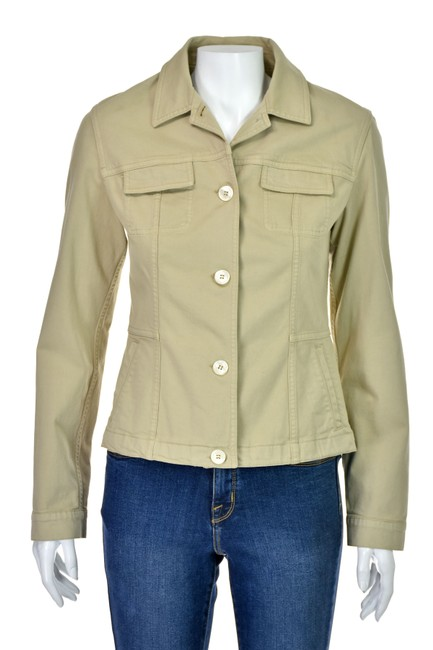 Piazza Sempione Khaki Cotton Twill Jacket Size 6 (S) Piazza Sempione Khaki Cotton Twill Jacket Size 6 (S) Image 1