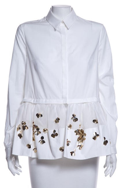 Item - White Embellished Peplum Hem Button Up Button-down Top Size 4 (S)