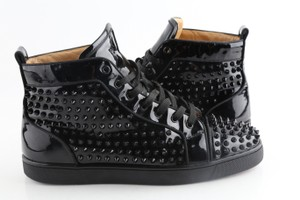 Christian Louboutin Black Patent Louis Spiked Sneakers Shoes