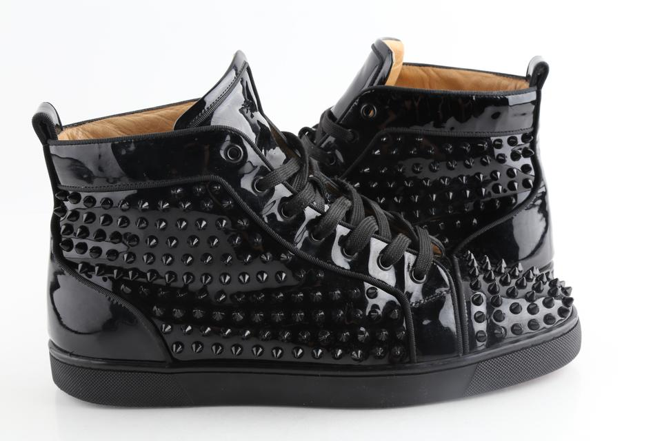 new style 571d6 aef59 Christian Louboutin Black Patent Louis Spiked Sneakers Shoes 36% off retail