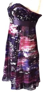 BCBGMAXAZRIA short dress Purple, Pink Silk Beaded Empire Waist Mini on Tradesy