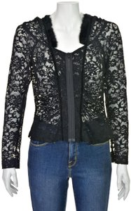 Charles Chang Lima Lace Blouse Fur Lace Lace Hoodie Lace Hood Top Black