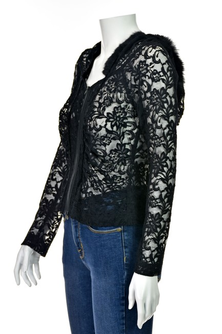 Charles Chang Lima Lace Blouse Fur Lace Lace Hoodie Lace Hood Top Black Image 3