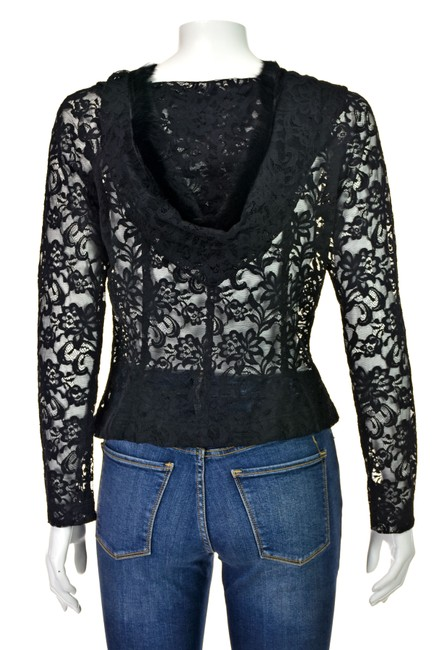Charles Chang Lima Lace Blouse Fur Lace Lace Hoodie Lace Hood Top Black Image 4