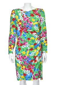 Carolina Herrera Flower Silk Floral Vintage Dress