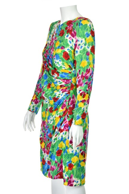 Carolina Herrera Flower Silk Floral Vintage Dress Image 2