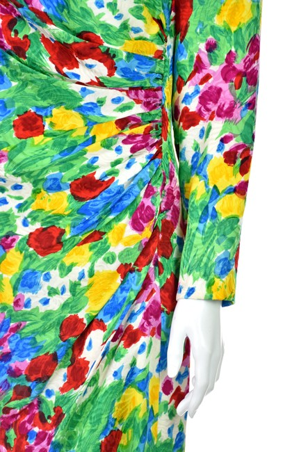 Carolina Herrera Flower Silk Floral Vintage Dress Image 3