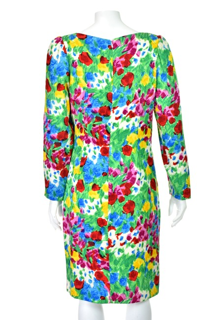Carolina Herrera Flower Silk Floral Vintage Dress Image 4