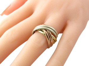 Tiffany & Co. Tiffany & Co. 14K Tri Color Gold Ribbed Double Trinity Roller Ring 8.5