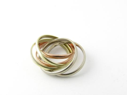 Tiffany & Co. Tiffany & Co. 14K Tri Color Gold Ribbed Double Trinity Roller Ring 8.5 Image 2