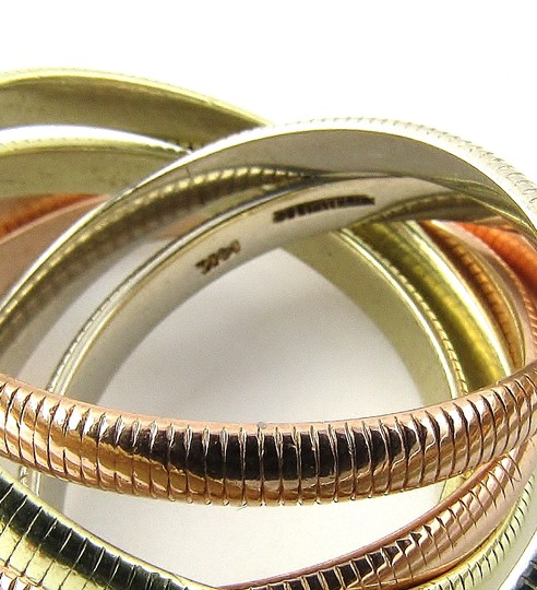 Tiffany & Co. Tiffany & Co. 14K Tri Color Gold Ribbed Double Trinity Roller Ring 8.5 Image 5