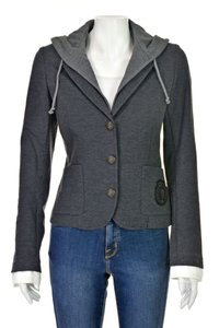 Haute Hippie Skull Removable Hood Jacket With Hood Gray Blazer