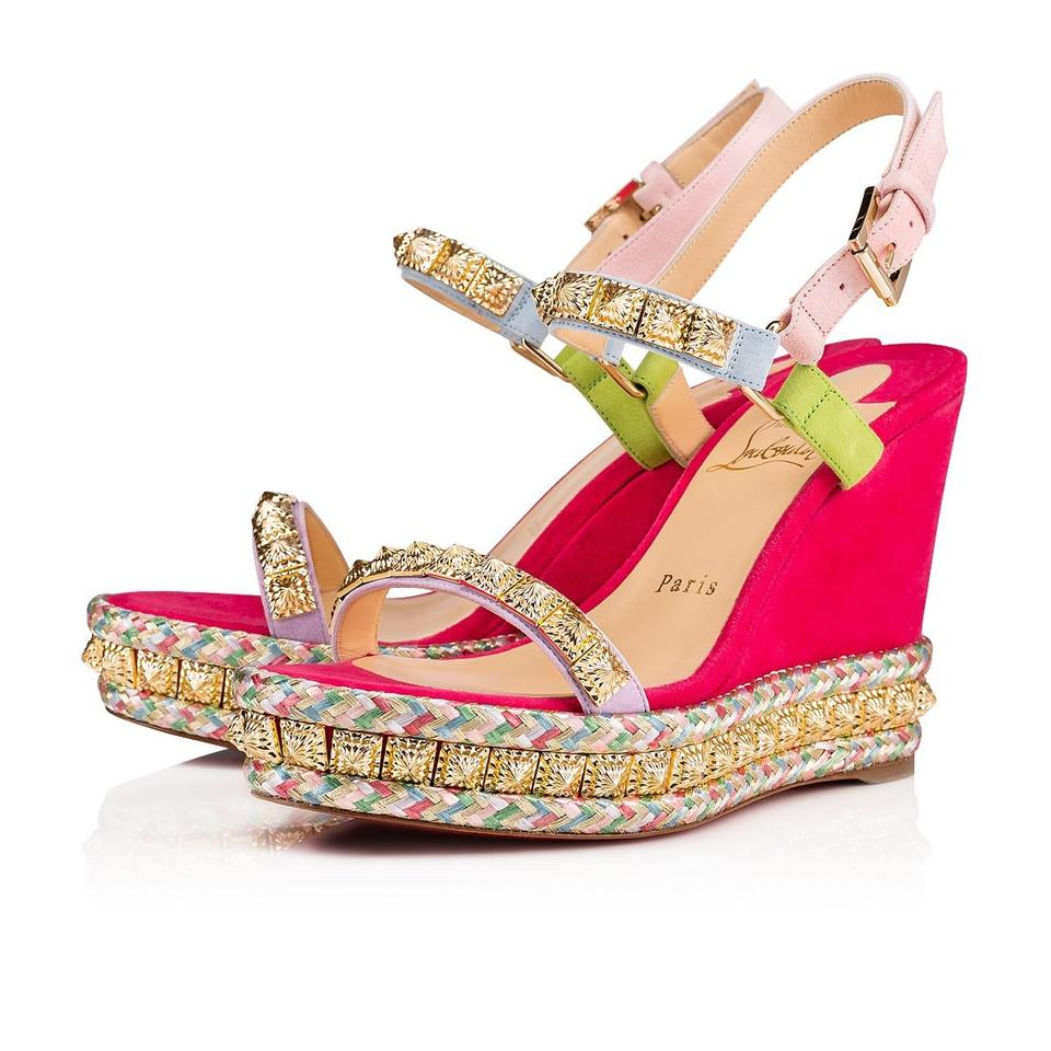 best service 4019e dfd51 Christian Louboutin Pink Pyradiams 110 Multi Suede Stud Platform Stiletto  Sandal Heel Wedges Size EU 39 (Approx. US 9) Regular (M, B)