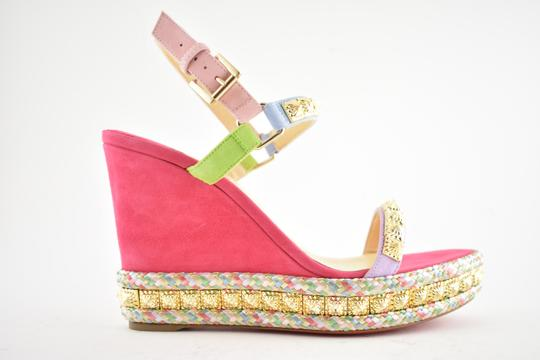 Christian Louboutin Pigalle Stiletto Classic Galeria Studded pink Wedges Image 1