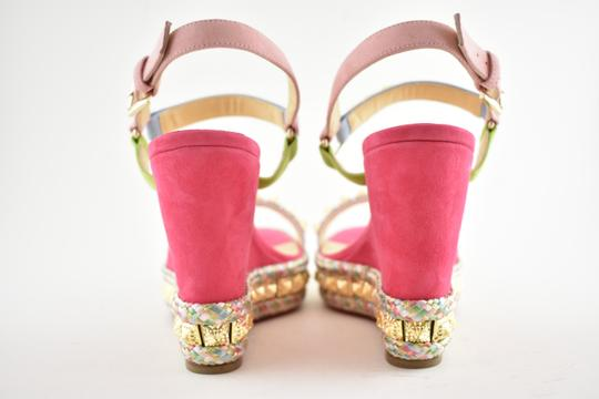 Christian Louboutin Pigalle Stiletto Classic Galeria Studded pink Wedges Image 10
