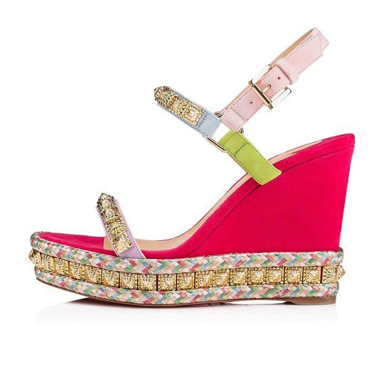 Christian Louboutin Pigalle Stiletto Classic Galeria Studded pink Wedges Image 2