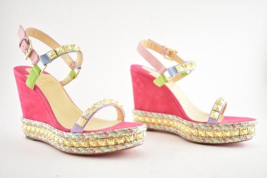 Christian Louboutin Pigalle Stiletto Classic Galeria Studded pink Wedges Image 3