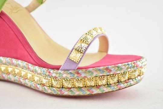 Christian Louboutin Pigalle Stiletto Classic Galeria Studded pink Wedges Image 4