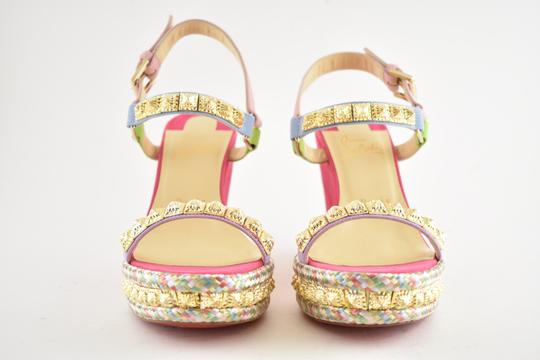 Christian Louboutin Pigalle Stiletto Classic Galeria Studded pink Wedges Image 5