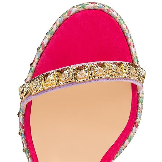 Christian Louboutin Pigalle Stiletto Classic Galeria Studded pink Wedges Image 6