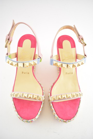 Christian Louboutin Pigalle Stiletto Classic Galeria Studded pink Wedges Image 7