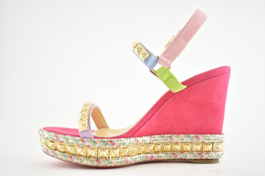 Christian Louboutin Pigalle Stiletto Classic Galeria Studded pink Wedges Image 8