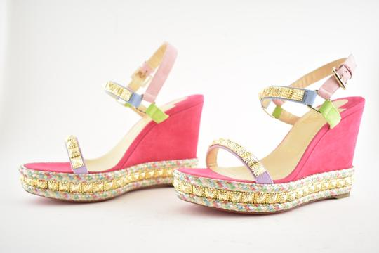 Christian Louboutin Pigalle Stiletto Classic Galeria Studded pink Wedges Image 9
