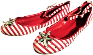 Ashro Anklestrap Striped Red and white Flats