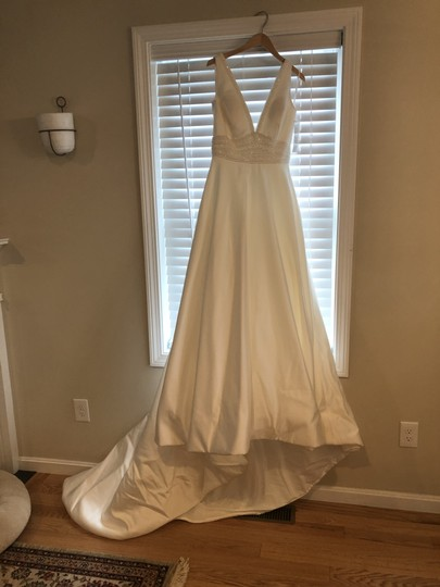 Jasmine Bridal Ivory Satin F201054 Feminine Wedding Dress Size 6 (S) Image 0