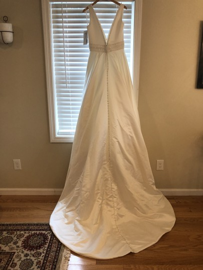 Jasmine Bridal Ivory Satin F201054 Feminine Wedding Dress Size 6 (S) Image 1