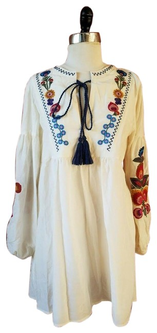 Zara Embroidered Floral Silk Dress Image 0