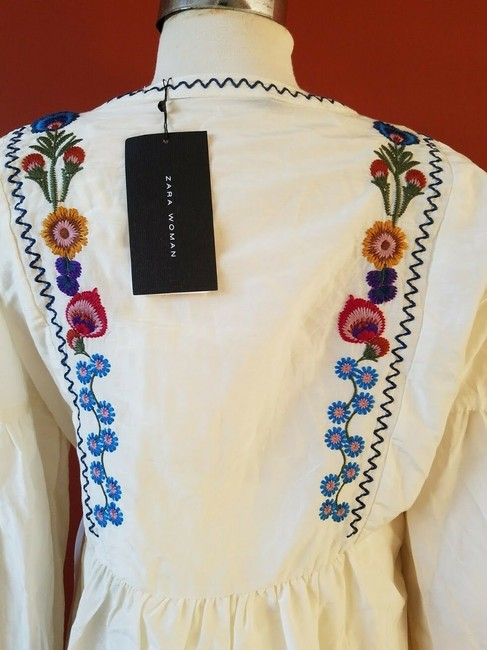 Zara Embroidered Floral Silk Dress Image 5