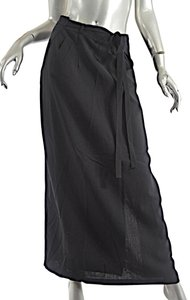 Morgane Le Fay Chiffon Wool Maxi Skirt Black