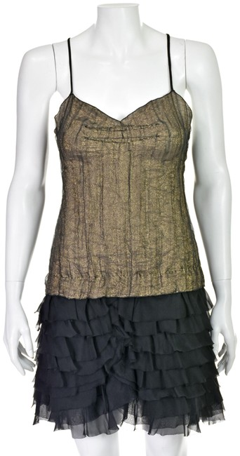 Preload https://img-static.tradesy.com/item/25854887/dolce-and-gabbana-black-and-gold-top-with-ruffled-silk-skirt-short-night-out-dress-size-4-s-0-1-650-650.jpg