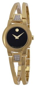 Movado MOVADO AMOROSA DIAMOND LADIES GOLD TONE BANGLE QUARTZ WATCH 0604984