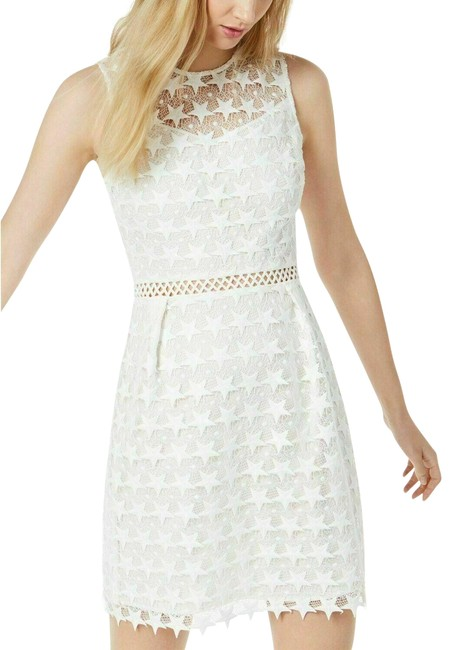 Preload https://img-static.tradesy.com/item/25854897/maison-jules-white-star-pattern-lace-fit-and-flare-new-short-casual-dress-size-12-l-0-1-650-650.jpg