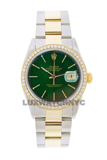 Preload https://img-static.tradesy.com/item/25854900/rolex-green-dial-15ct-men-s-36mm-datejust-gold-and-stainless-with-appraisal-watch-0-0-540-540.jpg