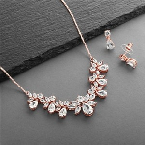 Rose Gold Stunning Crystals Necklace Earrings Jewelry Set