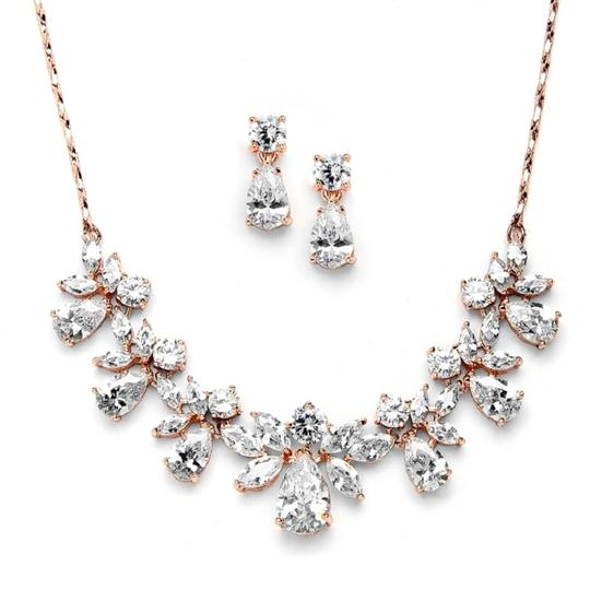 Rose Gold Stunning Crystals Necklace Earrings Jewelry Set Image 2
