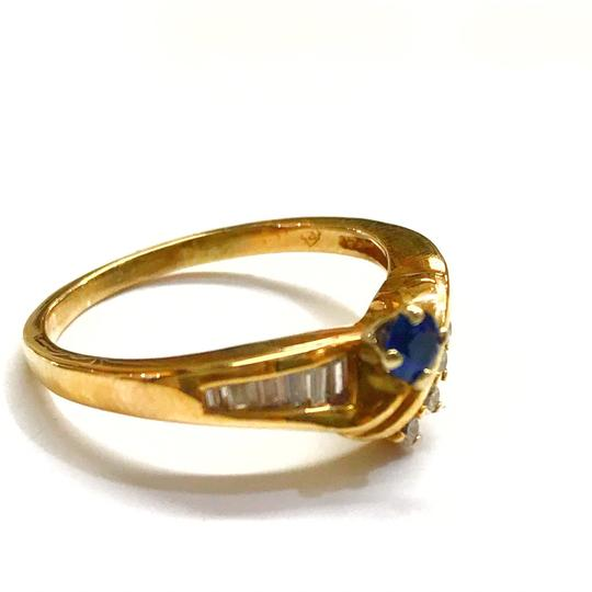 DeWitt's BEAUTIFUL!! GENUINE DEWITT ESTATE COLLECTION!! 14 Karat Yellow Gold, Diamond and Blue Sapphire Ring Image 1