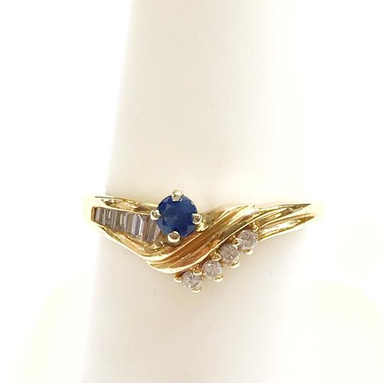 DeWitt's BEAUTIFUL!! GENUINE DEWITT ESTATE COLLECTION!! 14 Karat Yellow Gold, Diamond and Blue Sapphire Ring Image 3