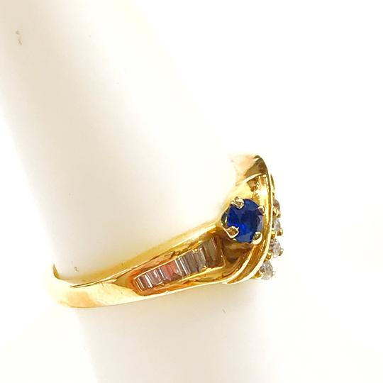 DeWitt's BEAUTIFUL!! GENUINE DEWITT ESTATE COLLECTION!! 14 Karat Yellow Gold, Diamond and Blue Sapphire Ring Image 4