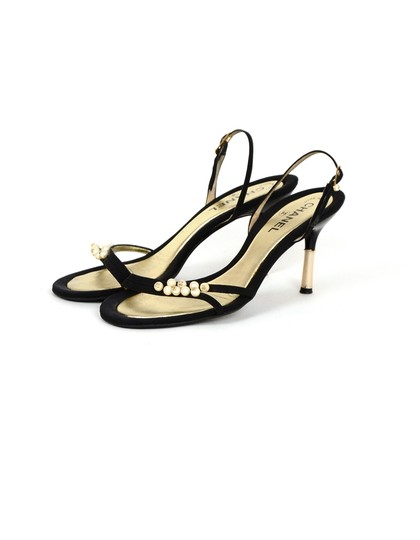 Chanel Satin Faux Pearls Black Sandals Image 2
