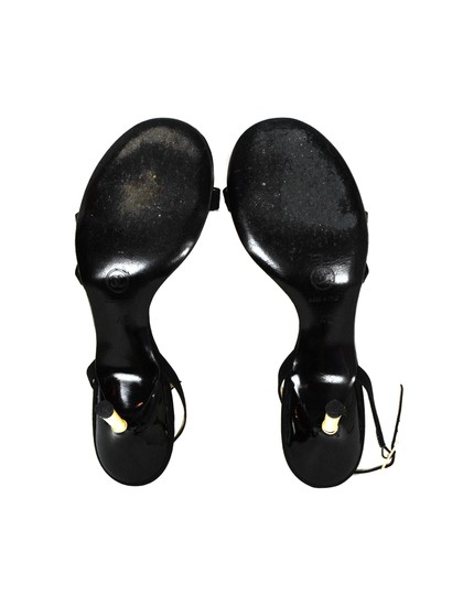 Chanel Satin Faux Pearls Black Sandals Image 4